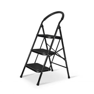 3 Step Ladder Sturdy Wide Pedal Heavy Duty Ladder