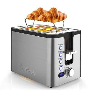 Hosome 2 Slice Toaster with Warming Rack and an LED Display, 800W