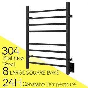 HEATGENE Hot Towel Warmer, 8 Square Bar, Matte Blac