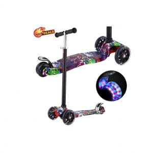 Aceshin Kick Scooter with Three LED Wheels and Adjustable Height Functionality