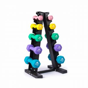 Fitness Alley Neoprene Dumbbells A-Frame Rack