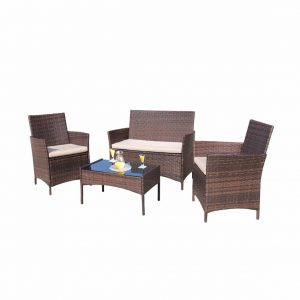 Homall 4 Pieces Outdoor Patio Furniture Sets