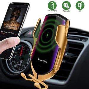 lukka Wireless Automatic Clamping Car Charger Mount Compatible with Samsung and iPhone (Gold)