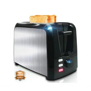 YLLUFFA 2 Slice – Toaster w:Two Extra Wide Slots and a Removable Crumb Tray