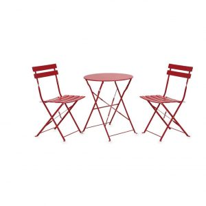 INOVIX Red Grand Premium Steel 3 Pieces Foldable Table and Chairs