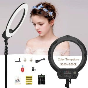 Dimmable 360 Degree Rotatable Fill Light Tosuny Ring Light Selfie Light Ring 3500K-8500K LED Ring Light for Mobile Phone Shooting Fill Light etc VLOG Manicure Live Broadcast Makeup