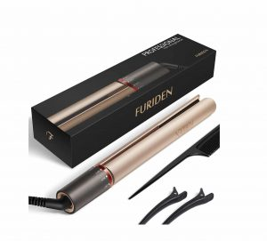 FURIDEN Professional Hair Straightener with Rotating Adjustable Temperature (Gold)