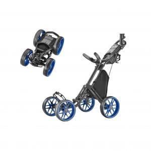 CaddyTek One Version 1-Click Folding 4 Wheel Golf Push Cart
