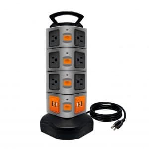 Lovin Product Surge Protector, 14 Outlet Plugs w:Four USB Slots (1-PACK)