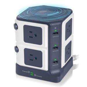 BESTEK 8-Outlet Surge Protector with 6 USB Ports, ETL Listed