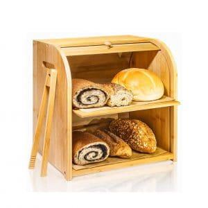 Finew Bamboo Bread Box