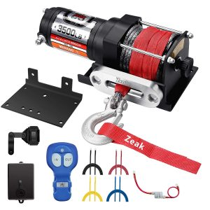 ZEAK 3500 lb. 12V DC Waterproof Electric Winch with Synthetic Rope