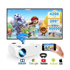 Weton Projector 4200 Lux LED Wireless 1080P 200 Inches Display