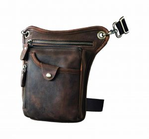 Le'aokuu Men's Motorcycle Waist Pack Genuine Leather Drop Leg Bag