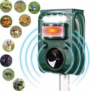MCAIOX Solar Powered Ultrasonic Outdoor Animal Repeller