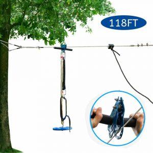 JOYMOR Zip Line Kit w: Trolley, Braking System and a Safe Belt (118ft)