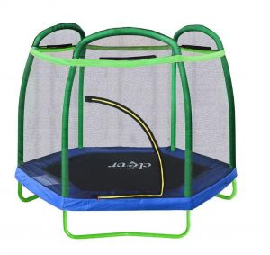 Clevr 7ft Kids' Trampoline w: Safety Enclosure Net and Spring Pad, Heavy Duty Frame