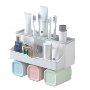 GANCHUN Multifunctional Toothbrush Holder w: Automatic Toothpaste Dispenser (3 Cups)