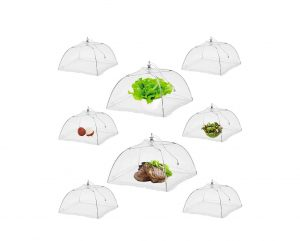NEPAK 17 inches Large Pop-Up Reusable and Collapsible Mesh Food Tent, (8 Pack)