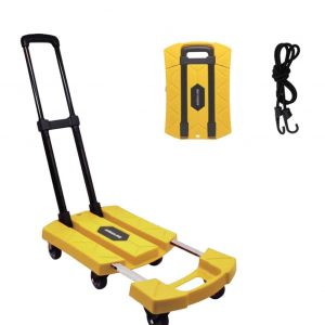 BORTENG Folding Hand Truck with 440lbs. Weight Capacity (Yellow)