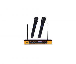 EMB Yellow VHF Dual Wireless Handheld Microphone System