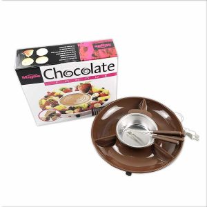 DIY Chocolate 110V Fondue Maker with 4 Steel Forks and Stainless Steel Bowl, Brown