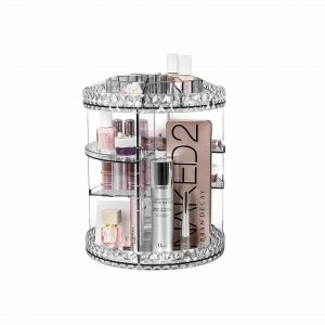 Sorbus 360° Rotating Adjustable Makeup Organizer for Toiletries, Cosmetics (Clear)