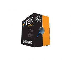 ETek Cables Cat6 Plenum 1000FT 550MHz Solid Blue Cable