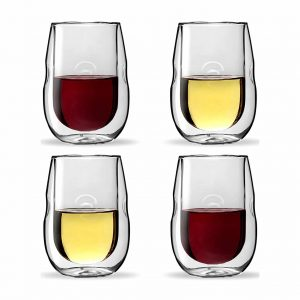 Ozeri Moderna Artisan Double Wall Wine Glasses