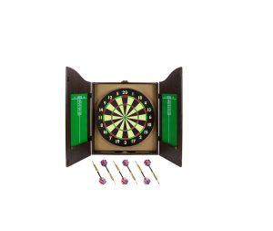 Triple Out Darts Walnut Dartboard Cabinet
