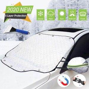 Omew 5-Layers Magnetic Windshield Car Cover for Snow