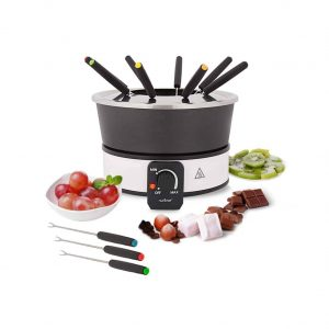 NutriChef Electric 2.1 Quart Chocolate Fondue Maker with 8 Dipping Forks