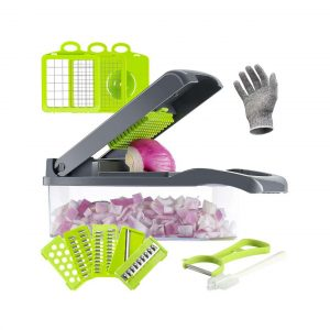 Valuetools Vegetable Chopper with Protective Gloves (Gray)
