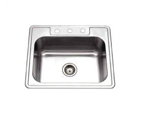HOUZER Glowtone Series Topmount Stainless Steel 3-Hole Kitchen Sink
