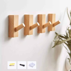 HomeDo 4 Pack Wood Wall Hooks Wall Mounted Planters