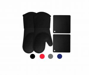Homwe Silicone Oven Mitts & Potholders (Black)