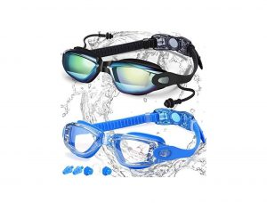 COOLOO Swim Goggles Pack of 2 UV 400 Protection Clear Lenses