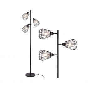 Stepeak 3 Light Dimand Shape Wire Cage Floor Lamp