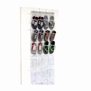 Simple Houseware 24 Pockets Crystal Clear Over The Door Shoe Rack