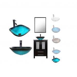 LUCKWIND Bathroom Vanity Vessel Sink Combo