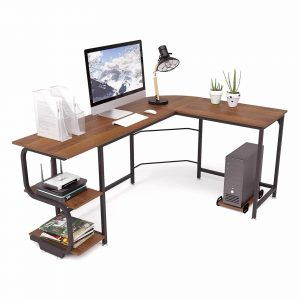 Teraves Reversible L-Shaped Desk with Shelves