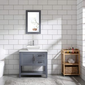 30″ Grey Bathroom Vanity Sink