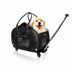 PetsHome Dog Cat Carrier with Wheels