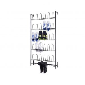 MyGift Black Metal Wall Mounted Shoe and Boots Rack 18 Pair