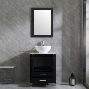 Wonline 24'' Black Bathroom Vanity and Sink Combo