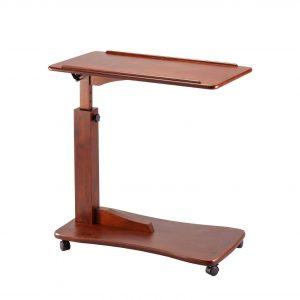 OakRidge Height Adjustable Tray Table w: Wheels, Walnut
