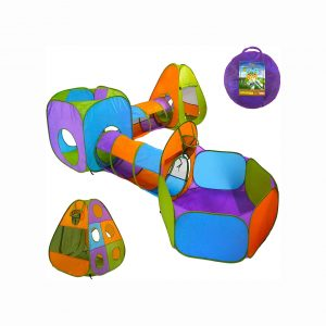 Playz 5-Piece Kids Pop up Play Tent Crawl Tunnel