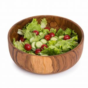 MyGift 9-inch Handcrafted Indonesian Round Teak Wood Salad