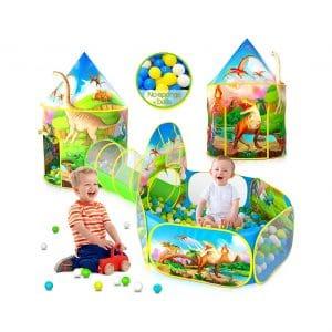 Wilwolfer 3 PC Dinosaur Kids Play Tent with Tunnel