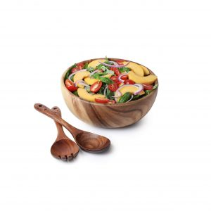 Acacia Wood Salad Bowl with Servers Set